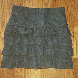 Ann Taylor loft dark brown lined tweed skirt 2